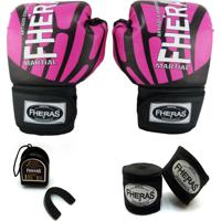 Kit Boxe Muay Thai Top - Luva Bandagem Bucal - 14Oz Elite Rosa