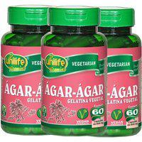 Ágar-Ágar Gelatina Vegetal 60 Cápsulas De 600Mg Kit Com 3