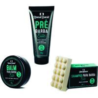 Kit Creme Pré Barba Shampoo Em Barra E Balm Elite Beard Brasil