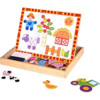Brinquedo Magnético Tooky Toy Quebra-Cabeça E Lousa Fazenda Bege/Laranja
