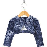 Bolero Cacau Kids Plush Animal Print Azul