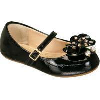 Sapato Boneca Envernizada Com Laã§O - Preta- Luluzinluluzinha