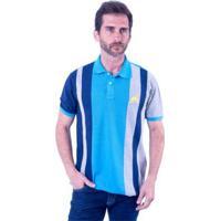 Camisa Polo Hipica Polo Club Trios Masculina - Masculino-Azul Turquesa+Cinza