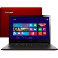 "Notebook Lenovo - S400-80By0004Br - Vermellho - Intel Core I3 - Ram 4Gb - Hd 500Gb - Tela 14"" Windows 8"