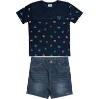 Conjunto Camiseta Bermuda Infantil Azul