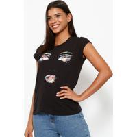 Camiseta Rosto- Preta & Verdeclub Polo Collection