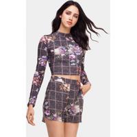 Blusa Cropped Malha Laço Costas Tweed Flowers - Lez A Lez
