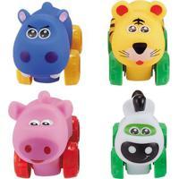 Conjunto De Carrinhos - Roda Livre - Onça, Hipopótamo, Porco E Zebra - Zoo Cars - Minimi