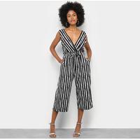 Macacão Lily Fashion Listrado Feminino - Feminino-Preto+Branco