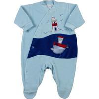 Macacão Bebê Plush Farol Com Boia - Masculino-Azul