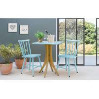 Mesa Bistrô Quadrada E 2 Cadeiras Juliette - Amêndoa E Azul Bebê