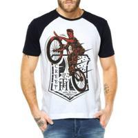Camiseta Criativa Urbana Raglan Ciclista Zumbi - Masculino-Branco