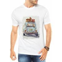 Camiseta Criativa Urbana Fusca Azul Carro Antigo Colorido Retrô - Masculino-Branco