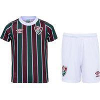 Kit De Uniforme De Futebol Infantil Do Fluminense I 21 Com Camisa E Calção Umbro