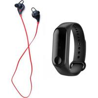Kit Relógio Bracelete Pedômetro + Fone De Ouvido Xtrad Bluetooth Headset Universal Sem Fio - Unissex