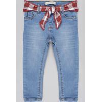 Calça Jeans Infantil Com Faixa Estampada Xadrez Azul Claro