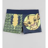 Sunga Infantil Boxer Simba O Rei Leão Estampada Com Proteção Uv50+ Azul Marinho