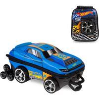 Mochila 3D Com Rodinhas E Lancheira Hot Wheels D-Muscle 2500Am19 Azul