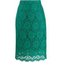 Dolce & Gabbana Saia Midi Com Renda - Verde