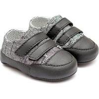 Tênis Bebê Fanfy Lee Conforto Velcro Masculino - Masculino-Cinza+Preto
