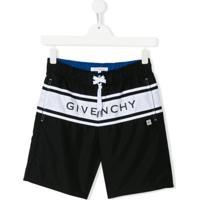 Givenchy Kids Drawstring Logo Swim Shorts - Preto