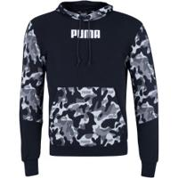 Blusão Com Capuz Puma Rebel Camo Hoody Tr - Masculino - Preto