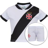 Kit De Uniforme De Futebol Do Vasco Da Gama Para Bebê: Camisa + Calção - Infantil - Preto/Branco