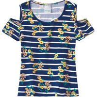 Blusa Listrada Com Vazados - Amarela & Azul Escuro -Malwee