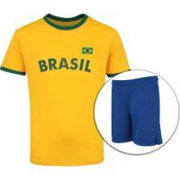 Kit De Uniforme De Futebol Do Brasil 2018 Adams: Camisa + Calção - Infantil - Amarelo/Azul Escuro