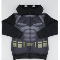 Blusão Infantil Batman Em Moletom Com Capuz Preta