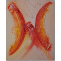 Quadro Artesanal Com Textura Abstrato Vermelho 40X50 Uniart