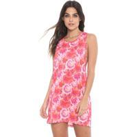 Vestido Lança Perfume Curto Floral Laranja/Rosa