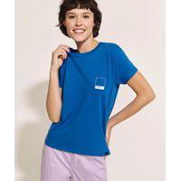 Blusa Feminina Pantone Manga Curta Decote Redondo Azul