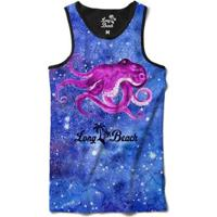 Camiseta Regata Long Beachs Aquarela Polvo Sublimada Masculina - Masculino-Azul+Preto
