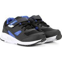 Tênis Infantil Kurz Velcro Jogging - Masculino-Preto+Azul