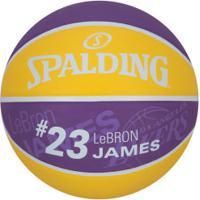 Bola De Basquete Spalding Nba Los Angeles Lakers Lebron James - Amarelo/Roxo