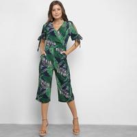 Macacão Lily Fashion Folhagem Feminino - Feminino-Verde