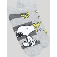Kit De 2 Meias Feminina Cano Baixo Snoopy Cinza Mescla