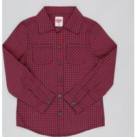 a27617d0d CEA  Camisa Infantil Estampada Xadrez Com Bolso Manga Longa Vermelho