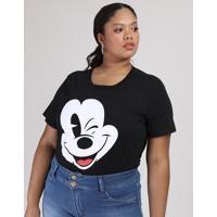 Blusa Feminina Plus Size Mickey Manga Curta Decote Redondo Preta
