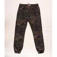 Calça Juvenil De Sarja Jogger Estampada Camuflada Com Bolsos Verde Militar