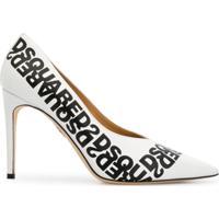 Dsquared2 Sapato Salto Agulha Com Logo Espelhado - Branco