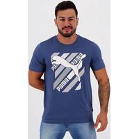 Camiseta Puma Cat Brand Graphic Masculina - Masculino-Marinho