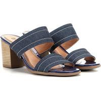 Tamanco Ramarim Salto Grosso 2 Tiras Feminino - Feminino-Jeans
