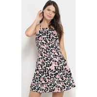 Vestido Lez Lez Evasê Curto Estampado - Feminino-Branco+Rosa