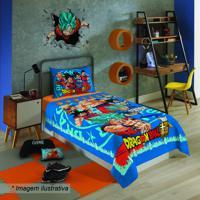 Jogo De Cama Dragon Ball® - Solteiro- Azul Vermelhobrlepper