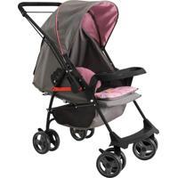 Carrinho De Bebê Milano Reversível Ll Preto Grafite Rosa - Tricae
