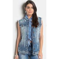 Colete Jeans Sawary Alongado Destroyed Azul