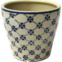 Cachepot Floral- Bege Claro & Azul- 12Xø14Cmbtc Decor
