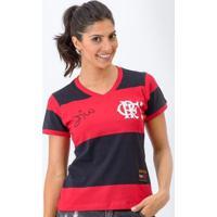 Camisa Flamengo Feminina Retrô Baby Look 1981 Zico Libertadores Feminina - Feminino